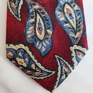 🍍Vintage Lands End Mens Tie Silk Burgundy Paisley